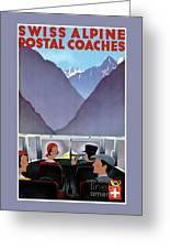 Switzerland Vintage Travel Poster Restored Greeting Card