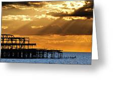 The West Pier In Brighton At Sunset Greeting Card