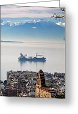 Thessaloniki With View Of Olympus Greeting Card