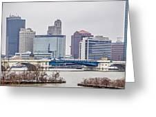 Toledo Ohio City Skyline And Bridges Around Downtown Greeting Card