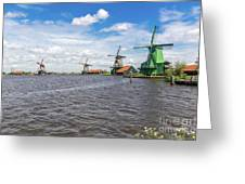 Traditional Dutch Windmills At Zaanse Schans, Amsterdam Greeting Card