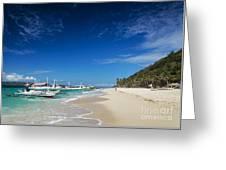 Traditional Filipino Ferry Taxi Tour Boats Puka Beach Boracay Ph Greeting Card