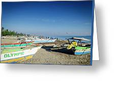 Traditional Fishing Boats On Dili Beach In East Timor Leste Greeting Card