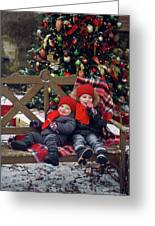 Two Children Sitting On A Bench With Candy Greeting Card