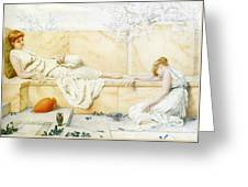 Two Classical Figures Reclining Henry Ryland Greeting Card