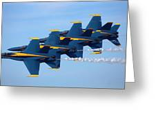U S Navy Blue Angeles, Formation Flying, Smoke On Greeting Card
