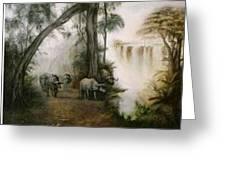 Victoria Falls Greeting Card by Riek  Jonker