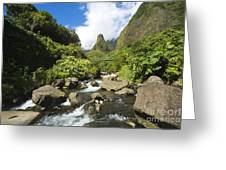View Of Iao Needle Greeting Card
