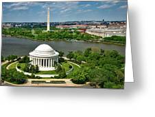 View Of The Jefferson Memorial And Washington Monument Greeting Card