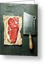 Vintage Cleaver And Raw Beef Steak Greeting Card