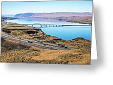 Wanapum Lake Colombia River Wild Horses Monument And Canyons Greeting Card