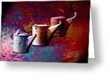 3 Watering Cans No.1 Greeting Card