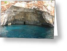 White Cliffs And Attractive Blue Caves On Island Of Zakinthos Sh Greeting Card