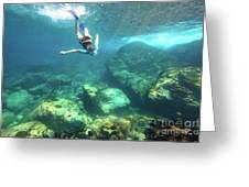 Woman Free Diving Greeting Card
