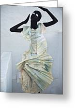 Woman With Black Boby Paint In Paper Dress Greeting Card