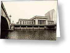 30th Street Station From The River Walk In Sepia Greeting Card