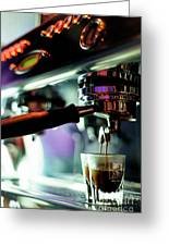 Making Espresso Coffee Close Up Detail With Modern Machine Greeting Card
