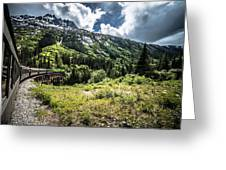 The White Pass And Yukon Route On Train Passing Through Vast Lan Greeting Card