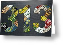313 Area Code Detroit Michigan Recycled Vintage License Plate Art Greeting Card