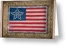 33 Star American Flag. Painting Of Antique Design Greeting Card