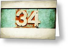 34 On Weathered Aqua Greeting Card