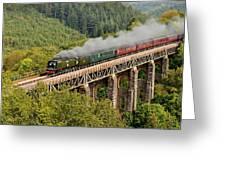 34067 Tangmere Crossing St Pinnock Viaduct. Greeting Card