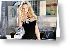 345337 Women Long Hair Lips Eyes Candice Swanepoel Greeting Card