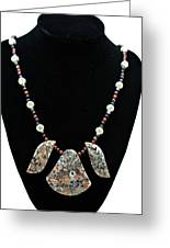 3521 Crinoid Fossil Jasper Necklace Greeting Card