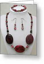 3544 Rhodonite Necklace Bracelet And Earring Set Greeting Card