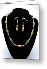 3565 Unakite Necklace And Earrings Set Greeting Card