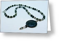 3577 Kambaba And Green Lace Jasper Necklace Greeting Card