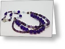 3580 Amethyst And Adventurine Necklace Greeting Card