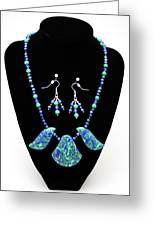 3582 Lapis Lazuli Malachite Necklace And Earring Set Greeting Card