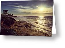 Sunset On La Jolla Beach, California, Usa  Greeting Card