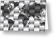3d Black And White World Map Composition Greeting Card