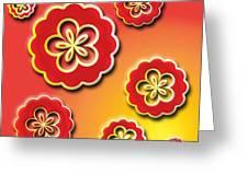 3d Digital Flowers Greeting Card