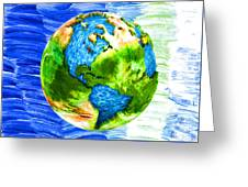 3d Render Of Planet Earth 11 Greeting Card