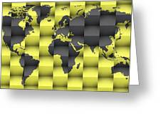 3d World Map Composition 4 Greeting Card