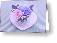 A Gift Of Preservrd Flower And Clay Flower Arrangement, Blue And Greeting Card