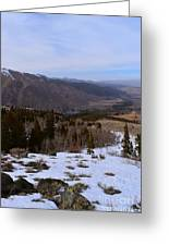 A Snowy Desert Mountain Scene Above Twin Lakes Along The Trail To Monument Ridge In The Eastern Sier Greeting Card