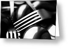 Abstract Black And White Forks Greeting Card
