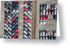Aerial View Lot Of Vehicles On Parking For New Car. Greeting Card