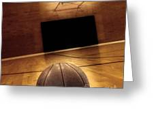 Basketball And Basketball Court Greeting Card by Lane Erickson
