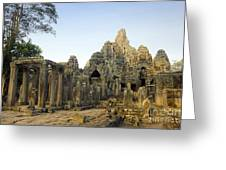 Bayon Temple Greeting Card by MotHaiBaPhoto Prints