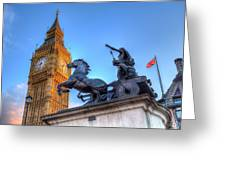 Big Ben And Boadicea Statue  Greeting Card