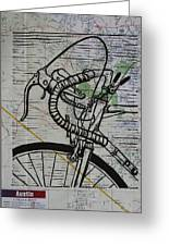 Bike 2 On Map Greeting Card