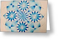 4 Blue Flowers Mandala Greeting Card