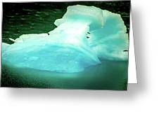 Blue Icebergs And Ice Chunks In Water Nearby Alaska Greeting Card