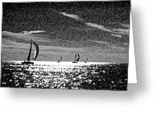 4 Boats On The Horizon Bw Greeting Card