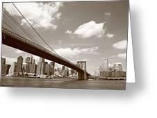 Brooklyn Bridge - New York City Skyline Greeting Card
